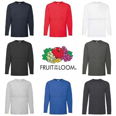 Fruit of the Loom Mens Womens 100% Cotton Long Sleeve Plain Blank Tee T-Shirt