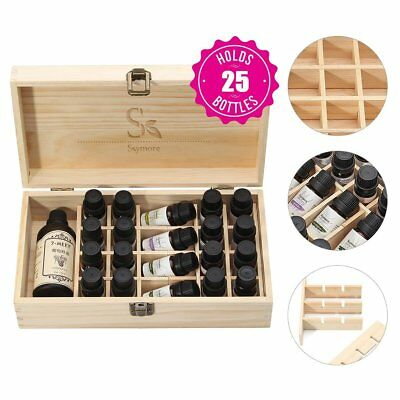 25 SLOTS Essential Oil in Wooden Box, Internal Mobile of Natural Wood Viewing