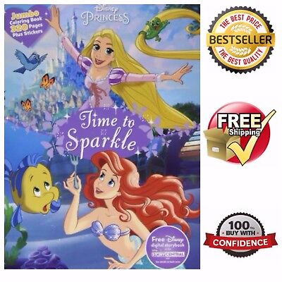 Childrens Big Coloring Book 320 Page Disney Princess Paperback W 40 Stickers
