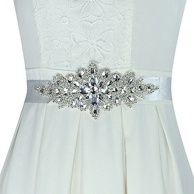 EP_ Hot Magic Bridal Sash Waist Belt with White Satin Ribbon for Wedding Dress
