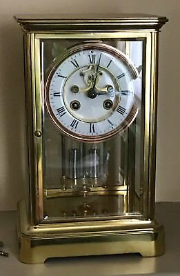 Antique Brass Four Glass Brass Striking Bracket Mantel Clock Brass by MAPLE & CO