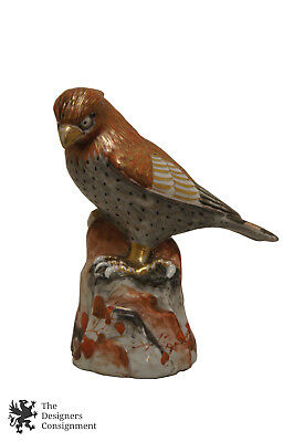 Chinese Signed Polychrome Porcelain Ceramic Figurine Bird on Rock Painted Gilded