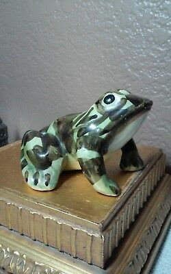 "way cool vintage porcelain?frog figurine bout 4.5 x 3.75"", camouflage color"