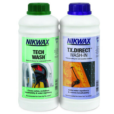 Nikwax Tech Wash & TX Direct 1 Litre Twin Pack Cleaning Waterproof Outdoor Proof
