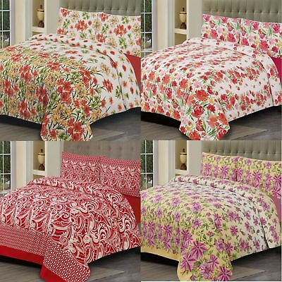 Flower Duvet Cover with Pillow Case Quilt Cover Bedding Set Single Double King
