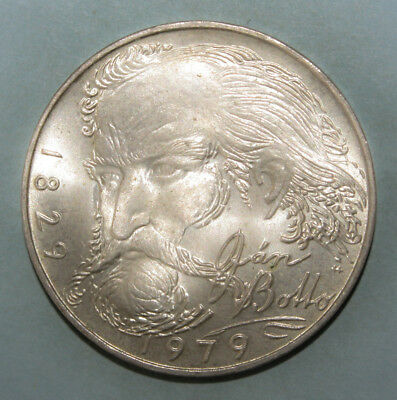 Czechoslovakia 100 Korun 1979 Brilliant Uncirculated Silver Coin - Jan Botto