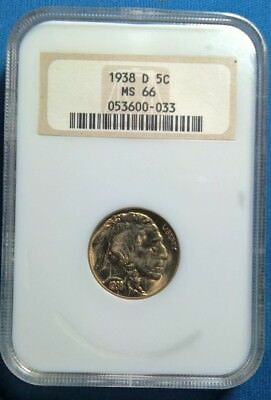 1938-D BUFFALO NICKEL NGC MS66 BEAUTIFUL GOLD TONED, (price lowered!) FREE SHIP!