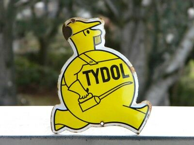 "TYDOL OLD PORCELAIN SIGN ~5-1/2"" x 4-3/4"" OIL GAS STATION PUMP LUBE ADVERTISING"