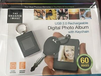Digital Photo Album W/ Keychain Sharper Image USB 2.0 Rechargeable 60 Images
