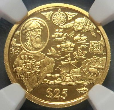 2004 Gold British Virgin Is $25 Pizarro Ngc Proof 69 Ultra Cameo Only 350 Minted