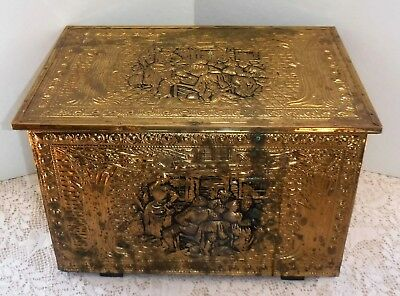 Vintage Brass Colonial Trunk,Early American Brass Box Coal Box Wood Kindling