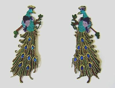 Tropical Bird Peacock  Embroidered Iron On Applique / Patch