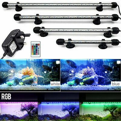 Aquarium Submersible Fish Tank Waterproof LED Light Bar RGB Remote Color Change