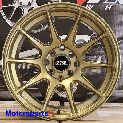 XXR 527 Gold 15x8 +20 Concave Wheels Rims 4x100 Stance 02 Honda Civic SI Hatch