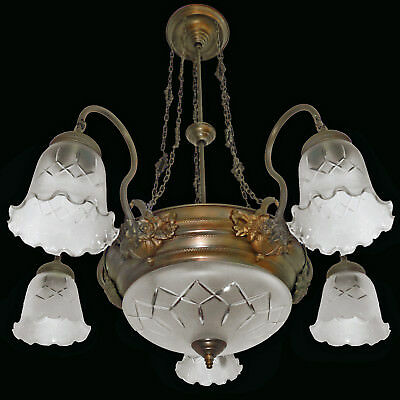 Antique Pair of French Art Deco/Art Nouveau Etched & Wheel Cut-Glass Chandeliers