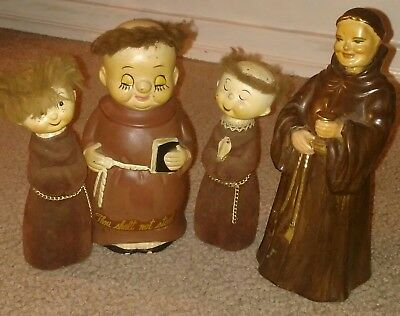 Piggy Bank Set Made In 1950's - Plus Decanter ( Collectible Monk Figurines )