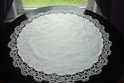 Antique ITALIAN Hand  Embroidered Reticella & LACE Round Table Topper ~ 24""