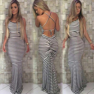7da381f5e77 Sexy New Womens Striped Strappy Low Back Maxi Dress Summer Floor Length  Dress