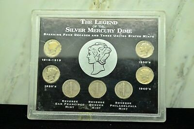 The Legend Of The Silver Mercury Dime Collection With 7 Silver Dimes