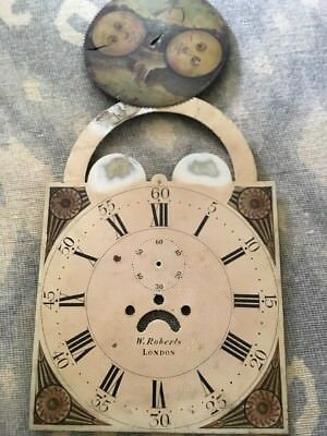 Antique Grandfather Long Case Clock Dial Face Decorative Roberts London