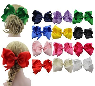 8 Inches Huge Big Bow Clip Boutique Hair Bows For Girls Kids Children 12 Pack
