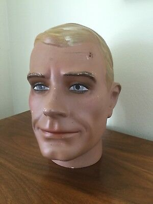 Vintage Mannequin Head Male Store Display 1940s 1950s