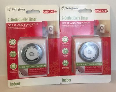 NEW WESTINGHOUSE 2 Outlet Daily Timer Indoor 2 Polarized Outlet ...