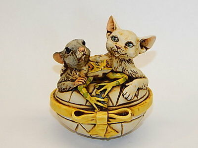Harmony Kingdom Artst Neil Eyre Designs Cat Mouse Frog Easter Egg Box LE 50