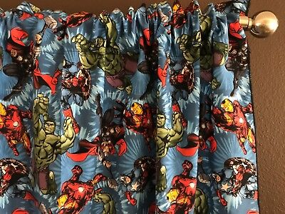 "Homemade Window Valance 100% Cotton Marvel Avengers in Action Print 42"" Wide"