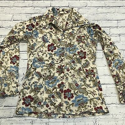 Pssst! It's Gailord Blouse Button Shirt Floral Print Vtg 70's Paisley Flare
