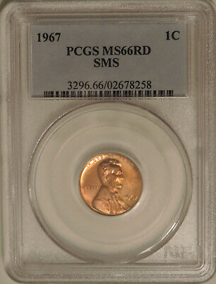 1967 PCGS MS66RD SMS Lincoln Memorial cent RED GEM penny uncirculated