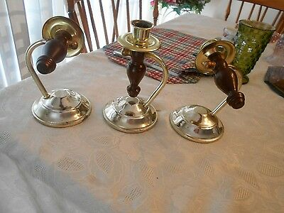 3- Home Interiors Wood & Brass Plated Wall Sconces/Table Candleholders