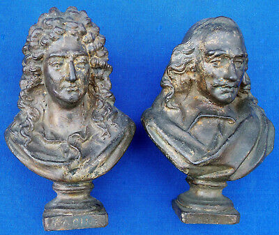Rare pair of 19th century French Neoclassical cast iron cabinet busts circa 1825
