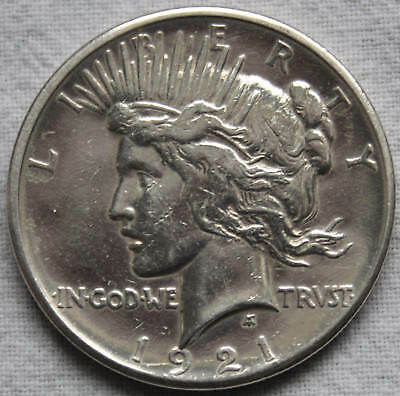 1921-P PEACE DOLLAR - HIGH RELIEF - Uncirculated / AU Details - FREE SHIPPING!!!