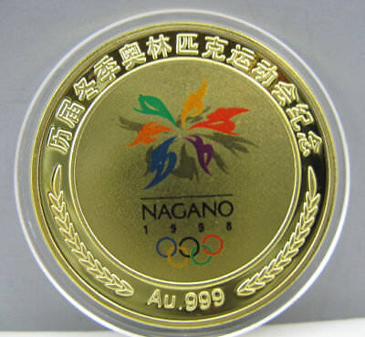 1998 Nagano Japan Winter Olympic Games 24k Gold Colour Medal Coin