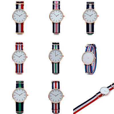 Women Men High Quality Dial Big Band Nylon Couple Watch Analog Wrist Watches