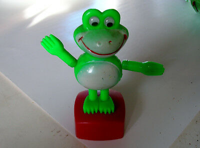 Vtg Plastic Push Up Frog Movable Arms & Head British Patent - Made Hong Kong Toy