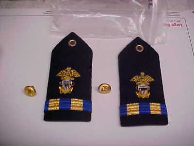 NEW USN Navy Sea Cadet Warrant Female Dress White Shoulder Bars 1pr loc#w102