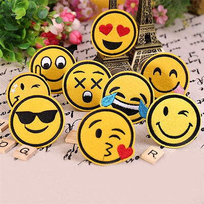 8pcs Funny Smiley Smile Face DIY Applique Embroidered Sew Iron on Patch kC