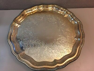 Vintage Leonard Silver Silverplate Serving Tray Scalloped Rimmed Footed Etched