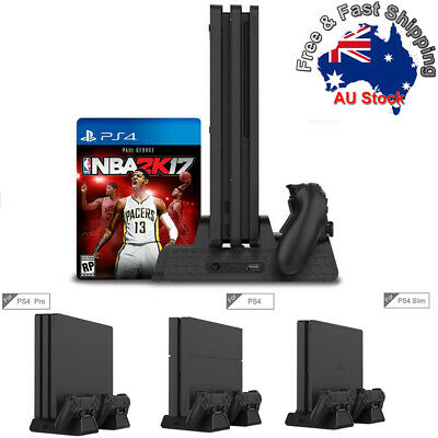Vertical Cooling Fan Stand with Gamepad Charging Station For PS4/Slim/PS4 Pro O