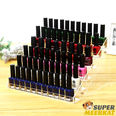 Acrylic Nail Polish Rack 6 Tier Stand Clear Shelf Organizer Display Case Holder
