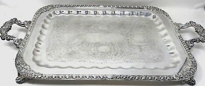 Antique Fb Rogers Silver Plate Tea Serving Platter Tray