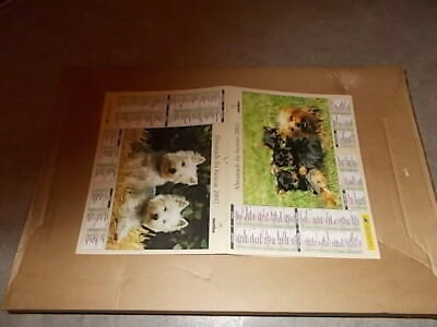 CALENDRIER PTT   2002  chiens pupies / yorkshire terrier