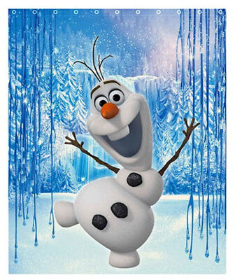 NEW Cute Olaf Frozen Snowman Polyester Shower Curtain Bath 60x72 Inch FREE Hooks