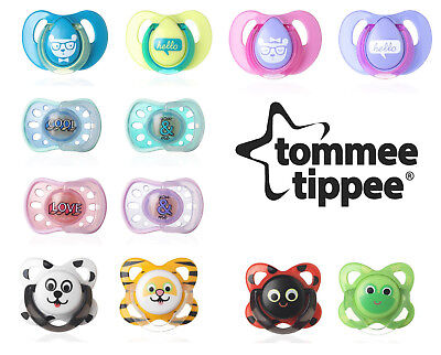 Baby Soother Dummy Pacifier Teat Nipple 2 Pack Tommee Tippee Rim Funky Cherry