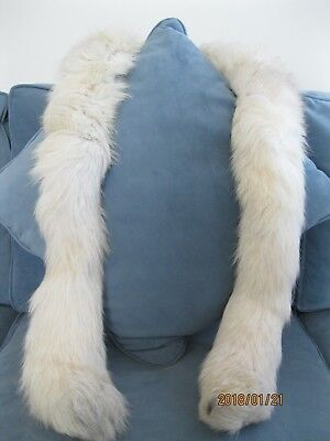 """Vintage Real Fur White Tail (possibly Arctic Fox) 67"""" Boa"""