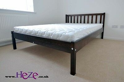 Solid, double bed, 4FT6, strong and durable in lovely walnut glossy colour Berno