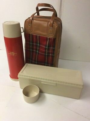 Vintage King-Seeley Red Plaid Bag Thermos Picnic Set Quart Thermos Sandwich Box