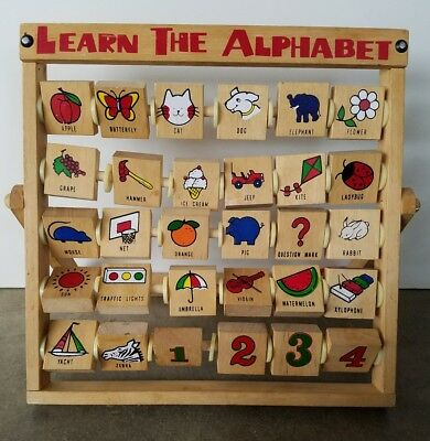 Vintage 1950's Wooden Learn the Alphabet Letters Child Room Decor Retro